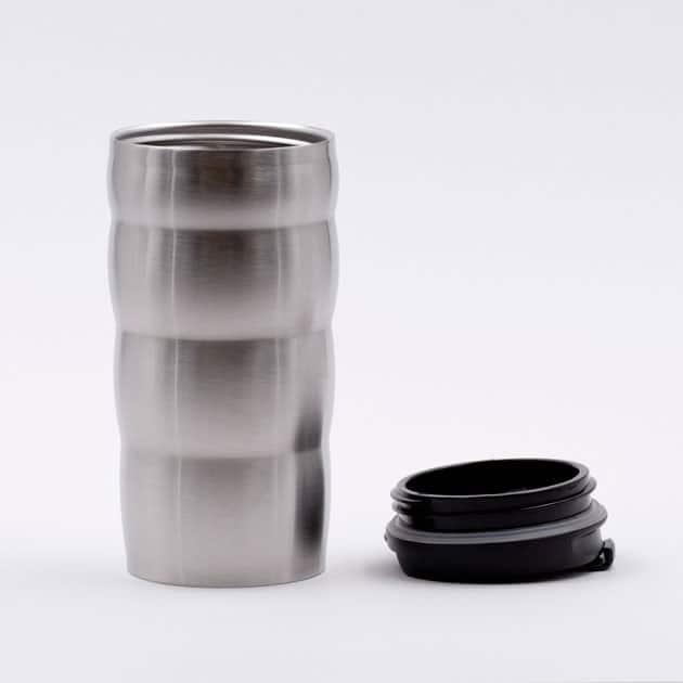 Vaso Mug Cafetero Café para Llevar Térmico con Tapa Plateado Aluminio Hario BBarista