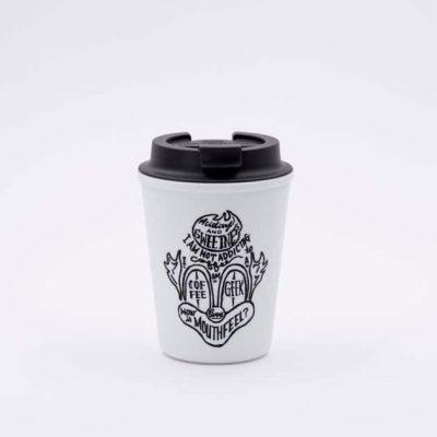 Vaso Térmico para Llevar Café con Tapa Blanco Estampado 350ml Rivers BBarista