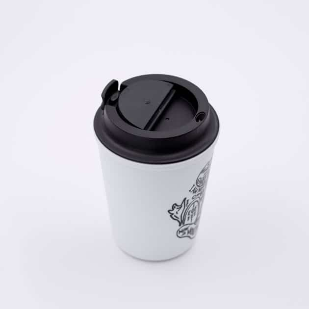 Vaso Térmico para Café Mug Color Blanco Estampado Rivers Bbarista