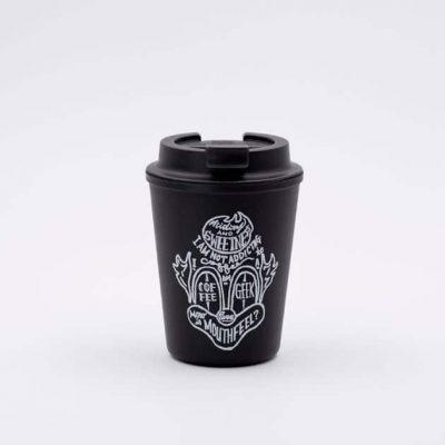Vaso Térmico para Llevar Café con Tapa Negro Estampado 350ml Rivers BBarista