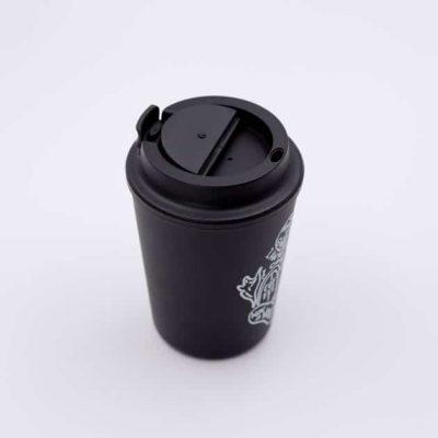 Vaso Térmico para Café Mug Color Negro Estampado Rivers Bbarista